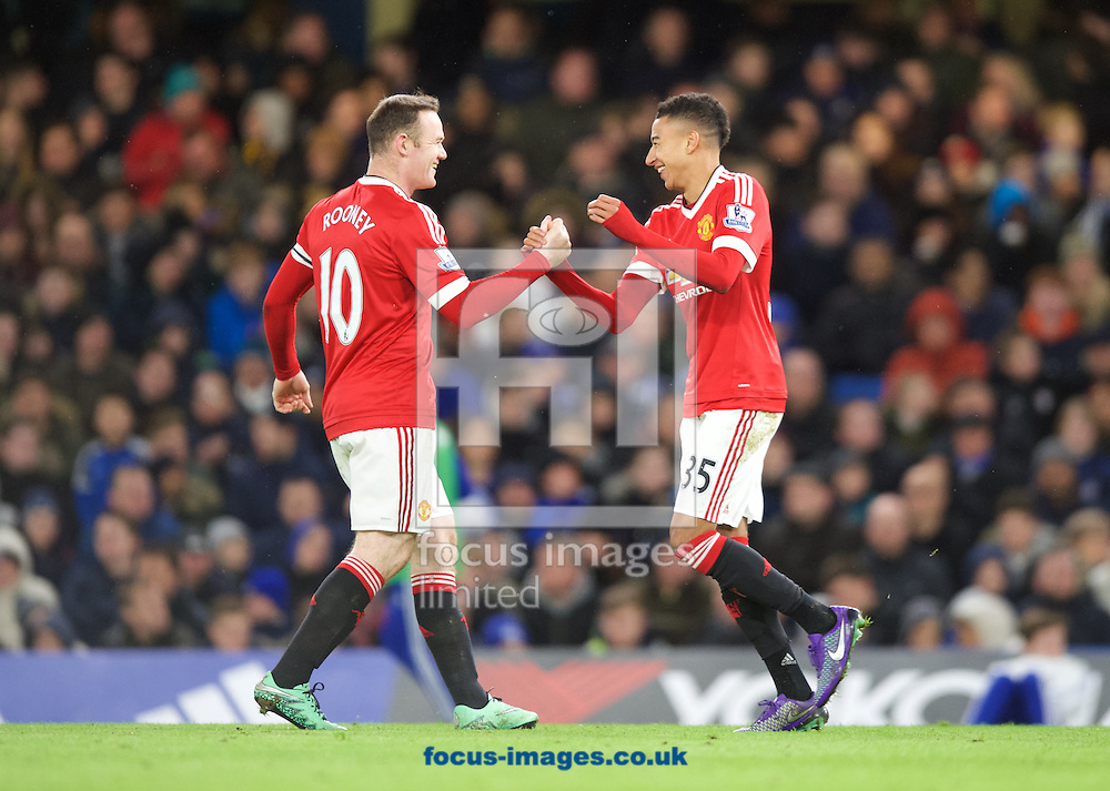 Jesse Lingard (35) of Manchester United celebrates after scoring the opening goal with Wayne Rooney during the Barclays Premier League match at Stamford Bridge, London<br /> Picture by Alan Stanford/Focus Images Ltd +44 7915 056117<br /> 07/02/2016