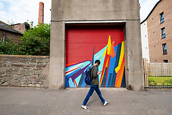 Street art project Openclose Dundee using art on doors in out of the way alleyways and lanes by local artists in the city. Dundee,Scotland, UK