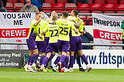 Exeter City defender Dean Moxey celebrate his goal with team-mates during the EFL Sky Bet League 2 match between Crewe Alexandra and Exeter City at Alexandra Stadium, Crewe, England on 5 October 2019.
