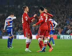 Cardiff City's Peter Whittingham celebrates his goal with Cardiff City's Anthony Pilkington and Cardiff City's Federico Macheda  - Photo mandatory by-line: Dougie Allward/JMP - Mobile: 07966 386802 - 21/11/2014 - Sport - Football - Cardiff - Cardiff City Stadium - Cardiff City v Reading - Sky Bet Championship