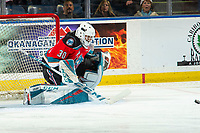 KELOWNA, BC - DECEMBER 18: Roman Basran #30 of the Kelowna Rockets makes a save against the Vancouver Giants  at Prospera Place on December 18, 2019 in Kelowna, Canada. (Photo by Marissa Baecker/Shoot the Breeze)