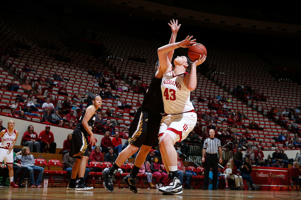 Indiana center Jenn Anderson (43) in action as Indiana played Northern Kentucky in an NCCA college basketball game in Bloomington, Ind., Thursday, Dec. 8, 2016. (AJ Mast)