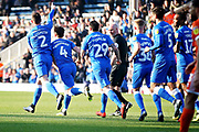 Peterborough Utd defender Jason Naismith (2) celebrates his goal 1-0 during the EFL Sky Bet League 1 match between Peterborough United and Shrewsbury Town at London Road, Peterborough, England on 23 February 2019.