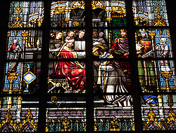 Stained glass windows from famous historic St. Janskathedraal in Den Bosch or s-Hertogenbosch The Netherlands