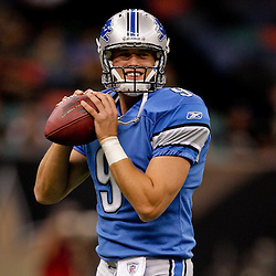 2009 September 13: Detroit Lions quarterback Matthew Stafford (9) in warm ups before a week one regular season game between the New Orleans Saints and the Detroit Lions at the Louisiana Superdome in New Orleans, Louisiana.