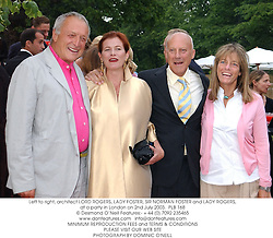 Left to right, architect LORD ROGERS, LADY FOSTER, SIR NORMAN FOSTER and LADY ROGERS, at a party in London on 2nd July 2003. PLB 168
