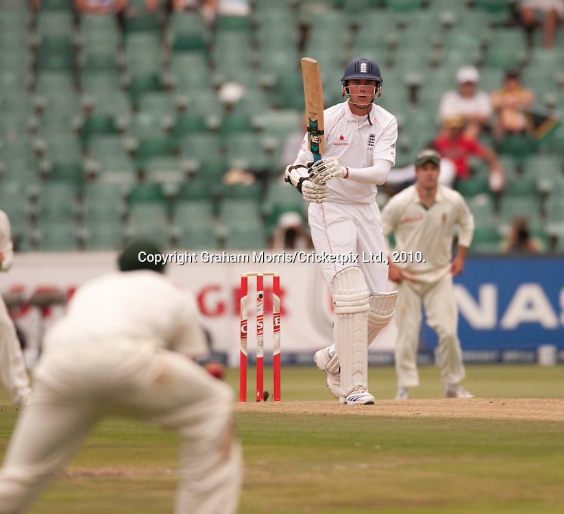 Stuart Broad watches as he is caught off the bowling of Jacques Kallis during the fourth and final Test Match between South Africa and England at the Wanderers Stadium, Johannesburg. Photograph © Graham Morris/cricketpix.com (Tel: +44 (0)20 8969 4192; Email: sales@cricketpix.com)