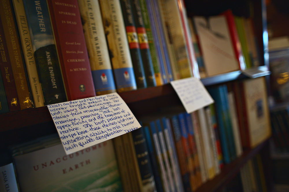 Handwritten recommendations hang on the shelves inside R.J. Julia Booksellers, Madison, Connecticut, US