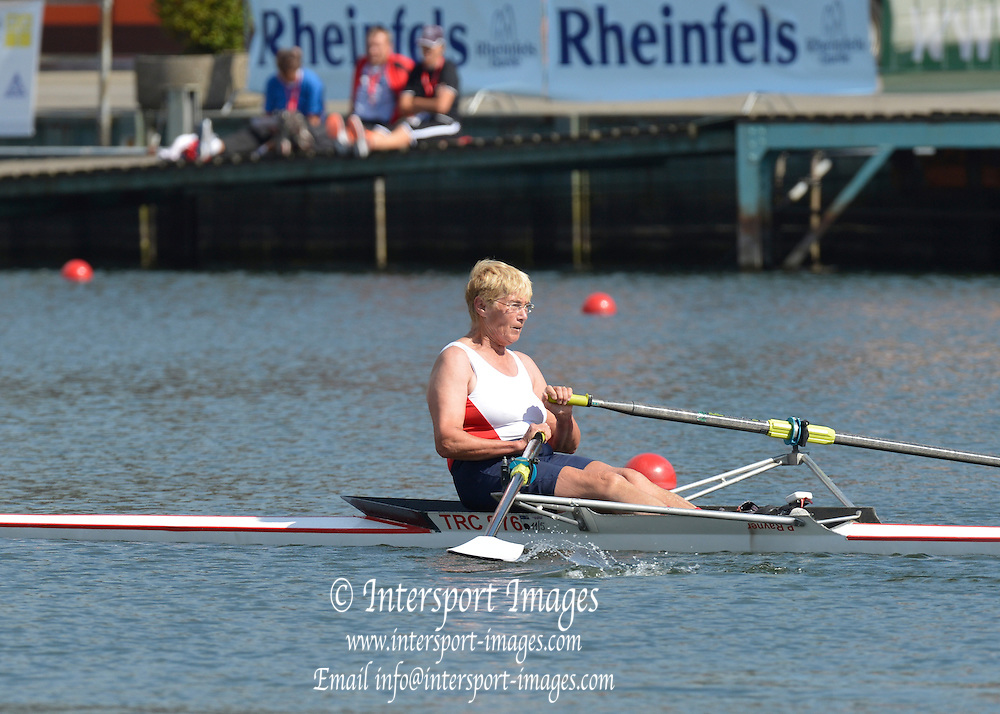 Duisburg, GERMANY.  Masters Women's Single Scull. Pauline RAINER competing in heat race at the FISA Masters World Championship. .Wedau Regatta Course .12:28:24  Friday  07/09/2012   ..[Mandatory Credit Peter Spurrier:  Intersport Images] ..Rowing, Masters,
