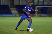 AFC Wimbledon defender Kyron Stabana (14) passing the ball during the EFL Trophy (Leasing.com) match between AFC Wimbledon and U23 Brighton and Hove Albion at the Cherry Red Records Stadium, Kingston, England on 3 September 2019.