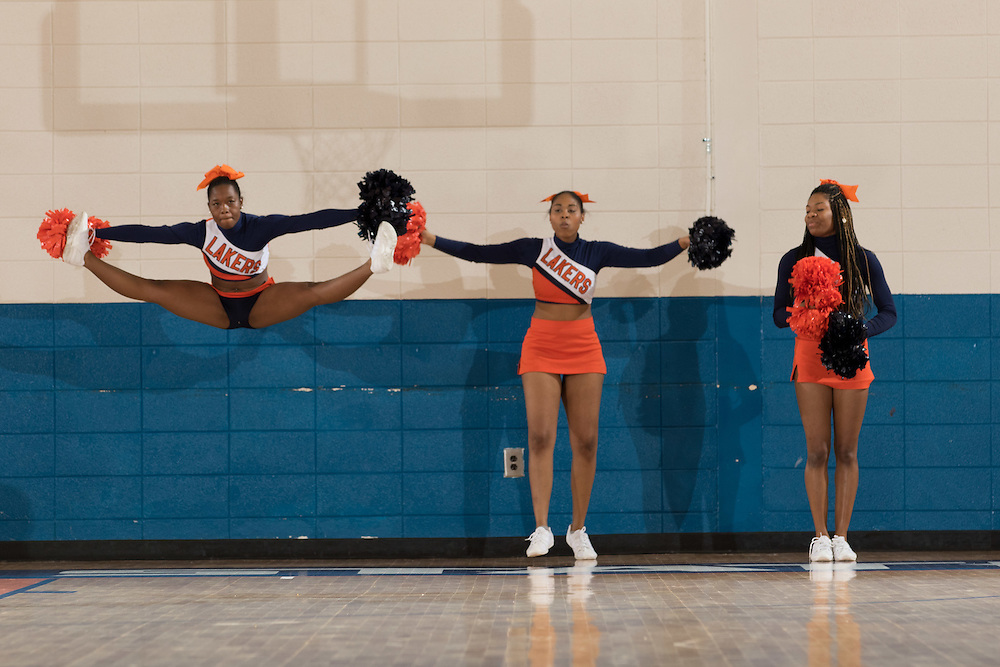 Dec. 3, 2014; Morrow, GA, USA; CSU cheerleaders in action against Fort Valley State at CSU. Clayton State won 87-73. Photo by Kevin Liles / kevindliles.com