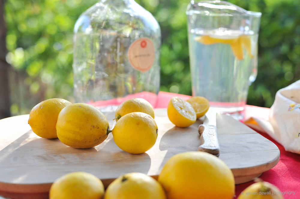 Lemons and water on a summer day.