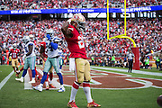 San Francisco 49ers running back Carlos Hyde (28) celebrates a touchdown against the Dallas Cowboys at Levis Stadium in Santa Clara, Calif., on October 2, 2016. (Stan Olszewski/Special to S.F. Examiner)