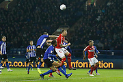 Middlesbrough defender Aden Flint (24) challenges for the ball during the EFL Sky Bet Championship match between Sheffield Wednesday and Middlesbrough at Hillsborough, Sheffield, England on 19 October 2018.