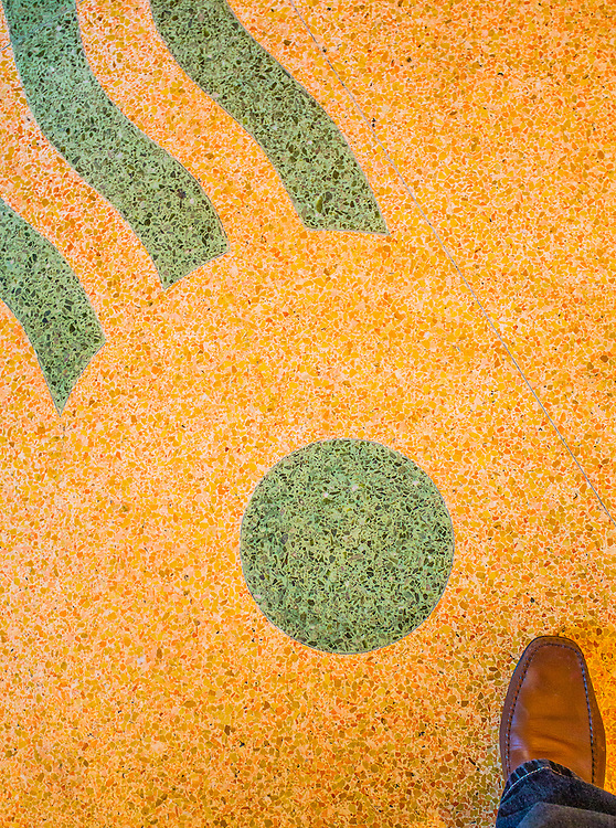 Detail of the Florida terrazzo floor in the lobby and main dining room of the Art Deco-style Bancroft Hotel  in Miami Beach, desgned by architect Albert Anis in 1939