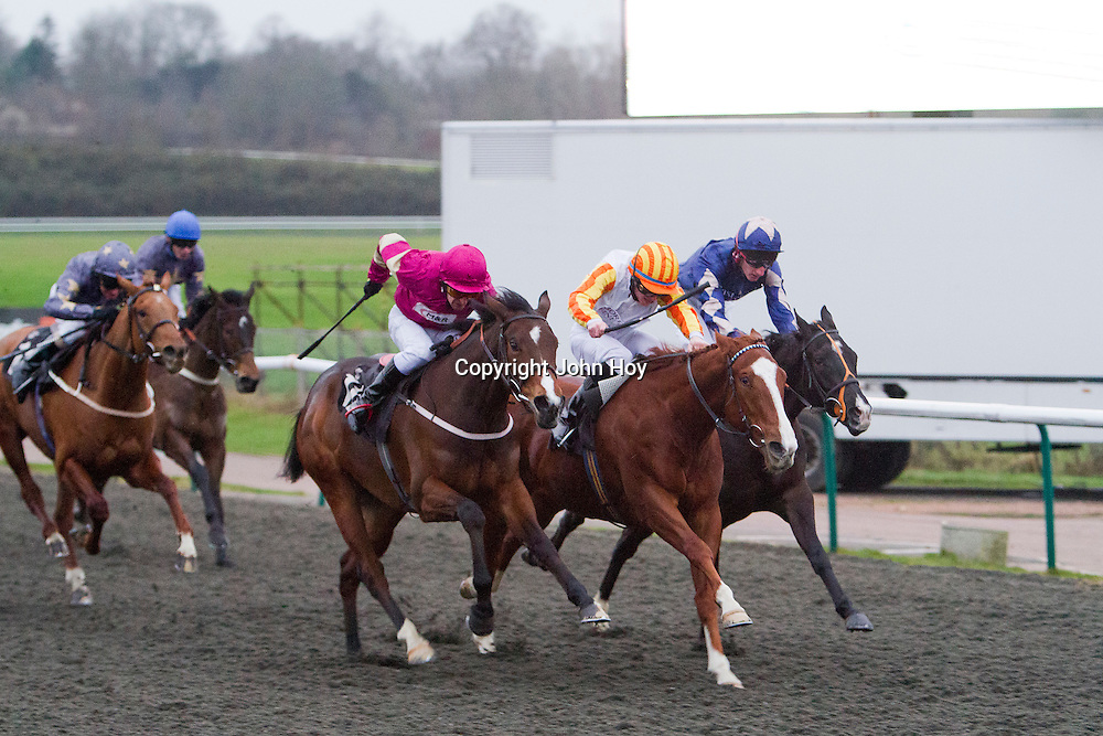 Sudden Wish and Dominic Fox winning the 3.20 race