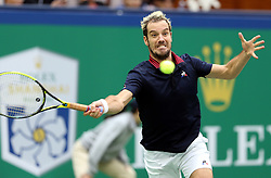 SHANGHAI, Oct. 10, 2018  France's Richard Gasquet hits a return during the men's singles second round match against Argentina's Juan Martin del Potro at the Shanghai Masters tennis tournament on Oct. 10, 2018. Richard Gasquet lost 0-2. (Credit Image: © Fan Jun/Xinhua via ZUMA Wire)