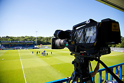 HAVERFORDWEST, WALES - Sunday, August 25, 2013: A television camera in the gantry before the Group A match of the UEFA Women's Under-19 Championship Wales 2013 tournament at the Bridge Meadow Stadium. (Pic by David Rawcliffe/Propaganda)
