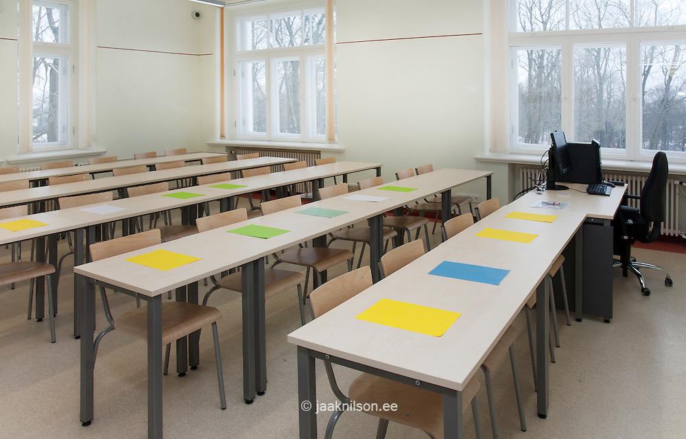Lecture hall, classroom with desks in Tartu University, Estonia