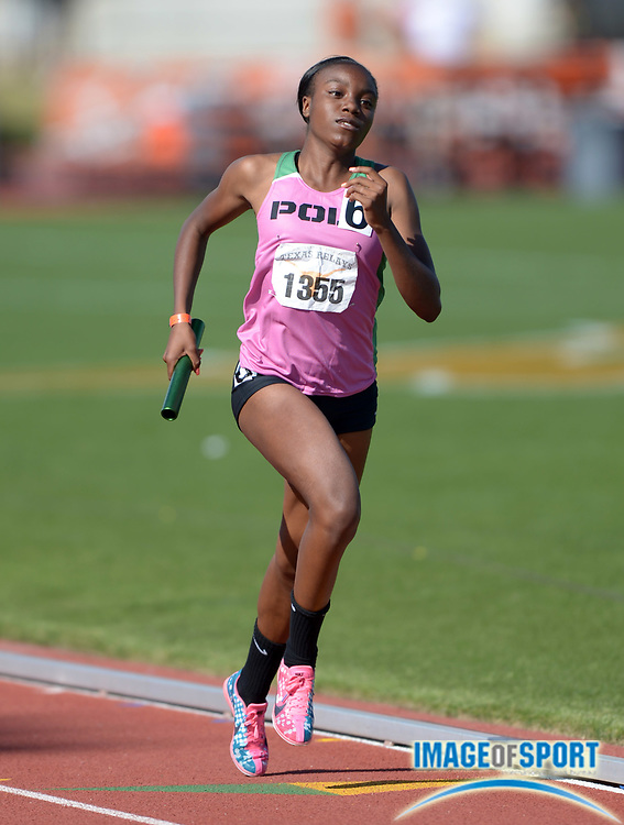 Mar 29, 2014; Austin, TX, USA; Autumn Wright runs the anchor leg on the Long Beach Poly girls 4 x 400m relay that placed second in the Division II girls race in 3:42.84 in the 87th Clyde Littlefield Texas Relays at Mike A. Myers Stadium.