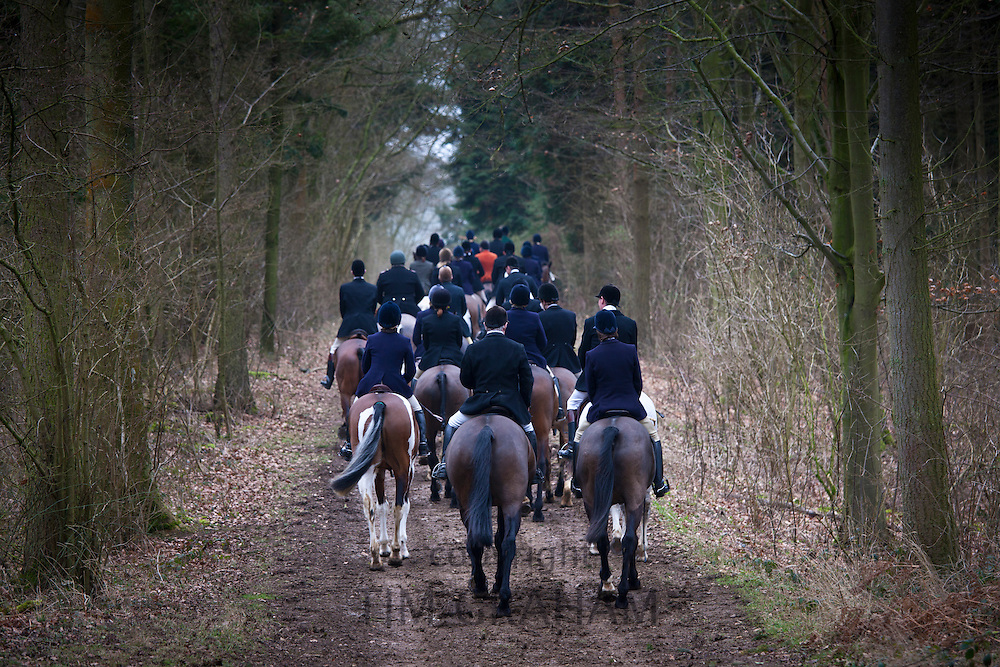 Members of the Heythrop Hunt at a meet in Swinbrook in The Cotswolds, Oxfordshire, United Kingdom