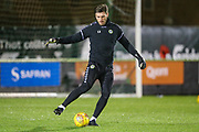 Forest Green Rovers goalkeeper James Montgomery warming up during the EFL Trophy group stage match between Forest Green Rovers and U21 Arsenal at the New Lawn, Forest Green, United Kingdom on 7 November 2018.