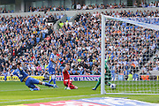 Cardiff City striker Joe Mason scores the opening goal during the Sky Bet Championship match between Brighton and Hove Albion and Cardiff City at the American Express Community Stadium, Brighton and Hove, England on 3 October 2015. Photo by Phil Duncan.
