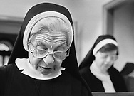 Sister Leonida, participates in morning prayer services at Sisters of Saint Basil The Great motherhouse Tuesday May 1, 1990 in Jenkintown, Pennsylvania. (Photo by William Thomas Cain/Cain Images)