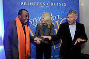 Entertainer Ben Vereen, left, Jan Swartz, center, President, Princess Cruises, and Oscar-winning Broadway composer Stephen Schwartz, right, celebrate after Princess Cruises announced their partnership with Schwartz during an event at Millennium Broadway's Hudson Theatre, Thursday, March 12, 2015, in New York. (Photo by Diane Bondareff/Invision for Princess Cruises/AP Images)