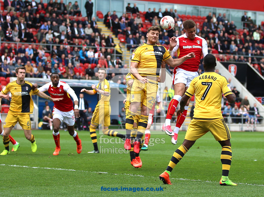Carlton Morris of Rotherham United heads a the ball from a corner during the Sky Bet Championship match at the New York Stadium, Rotherham<br /> Picture by James Wilson/Focus Images Ltd 07709 548263<br /> 01/04/2017