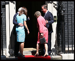 Prime Minister David Cameron and  wife Samantha greet John Major and wife Norma   for a lunch with The Queen and Duke of Edinburg and other former Prime Minister's at 10 Downing St.,London,  Tuesday, 24th July 2012.  Photo by: Stephen Lock / i-Images