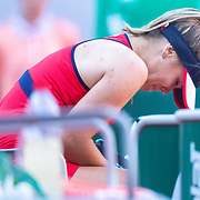 PARIS, FRANCE June 01. Sofia Kenin of the United States sobs in her chair after beating Serena Williams of the United States during the Women's Singles third round match on Court Philippe-Chatrier at the 2019 French Open Tennis Tournament at Roland Garros on June 1st 2019 in Paris, France. (Photo by Tim Clayton/Corbis via Getty Images)
