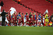 Teams come out for the first womens derby match at Anfield  during the FA Women's Super League match between Liverpool Women and Everton Women at Anfield, Liverpool, England on 17 November 2019.