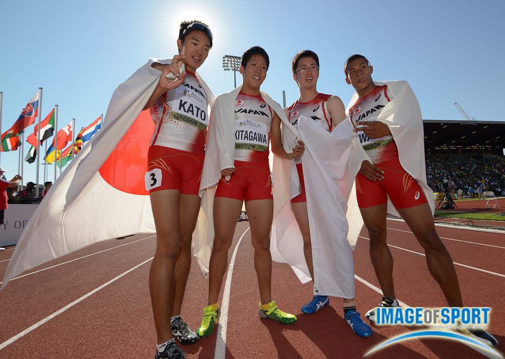 Jul 27, 2014; Eugene, OR, USA; Members of the Japan 4 x 400m relay pose after finishing second in an Asian junior record 3:04.11 in the 2014 IAAF World Junior Championships at Hayward Field. From left: Nobuya Kato and Takamasa Kitagawa and Kaisei Yui and Julian Walsh.