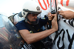 July 13, 2017 - Thessaloniki, Thessaloniki, Greece - Anti-Juncker demonstrations. .Jean-Claude Juncker,  European Commission President, named Honorary Doctor of the Law School of the Aristotle University of Thessaloniki (AUTH) (Credit Image: © Achilleas Pagourtzis/Pacific Press via ZUMA Wire)