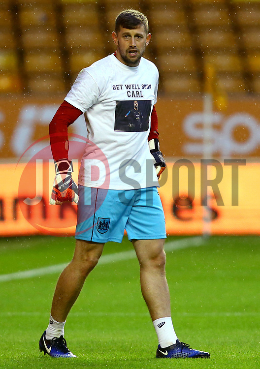 Frank Fielding of Bristol City wears a shirt in support of Wolverhampton Wanderers goalkeeper Carl Ikeme fighting against Acute Leukaemia - Mandatory by-line: Robbie Stephenson/JMP - 12/09/2017 - FOOTBALL - Molineux - Wolverhampton, England - Wolverhampton Wanderers v Bristol City - Sky Bet Championship