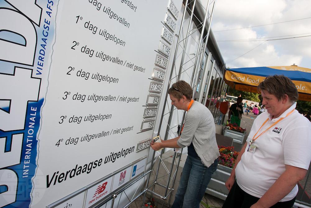 Medewerkers van de Nijmeegse Vierdaagse brengen op een bord de laatste gegevens over de uitvallers en volbrengers aan.