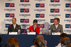 Pressconference: Delaveau Patrice (FRA), Schwizer Pius (SUI), Beerbaum Ludger (GER)<br /> Longines FEI World Cup™ Jumping Final 2013/2014<br /> Lyon 2014<br /> © Dirk Caremans
