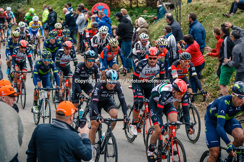 Peloton with KWIATKOWSKI Michal of Team Sky during the UCI WorldTour 103rd Liège-Bastogne-Liège from Liège to Ans with 258 km of racing at Cote de Pont, Belgium, 23 April 2017. Photo by Pim Nijland / PelotonPhotos.com | All photos usage must carry mandatory copyright credit (Peloton Photos | Pim Nijland)