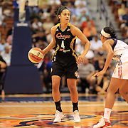 Skylar Diggins, Tulsa Shock, in action during the Connecticut Sun V Tulsa Shock WNBA regular game at Mohegan Sun Arena, Uncasville, Connecticut, USA. 2nd July 2013. Photo Tim Clayton