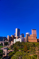 Downtown Denver skyline with Civic Center Park in foreground, Denver, Colorado USA.