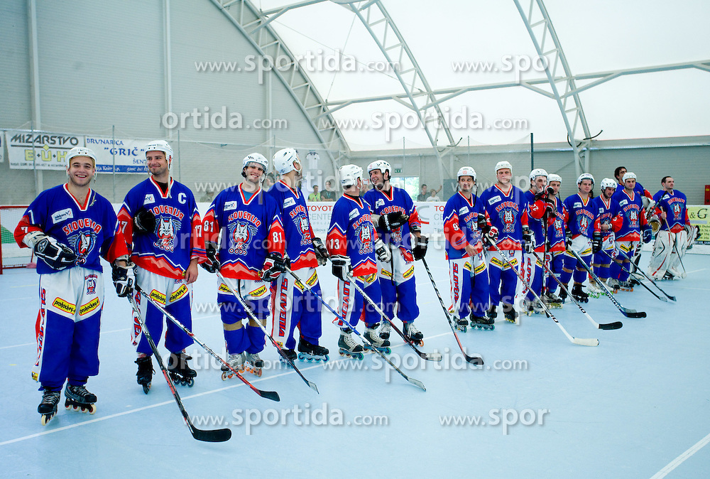 Team Slovenia (from L Domen Vedlin, Matic Kralj, Marjan Manfreda) at in-line tournament Horjul Hockey Cup 2009 between National teams of Slovenia and Austria, on May 31, 2009, in Sportni park Horjul, Slovenia. (Photo by Vid Ponikvar / Sportida)