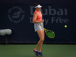February 19, 2019 - Dubai, ARAB EMIRATES - Jennifer Brady of the United States in action during her second-round match at the 2019 Dubai Duty Free Tennis Championships WTA Premier 5 tennis tournament (Credit Image: © AFP7 via ZUMA Wire)