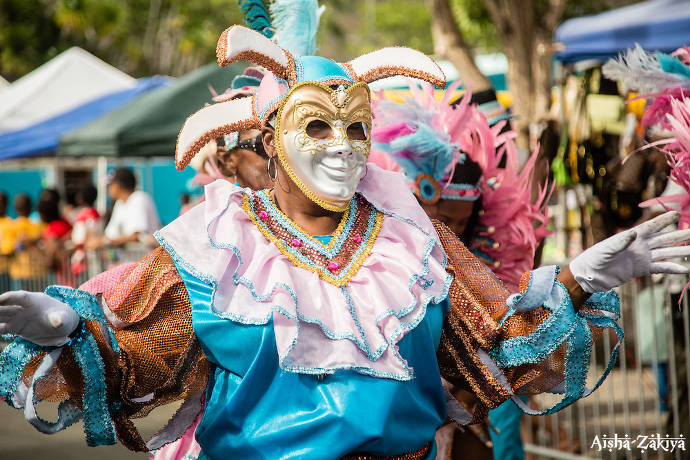 Laverne Jennings.  Party Lover Carnival Troupe presents Memories of the Minstrel.  Coming Together Culturally on the Scene for St. John Festival 2015.  St. John 4th of July Parade.  4 July 2015. ©Aisha-Zakiya Boyd