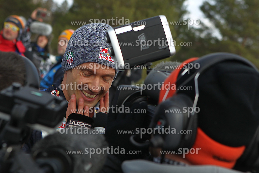 15.02.2015,  Karlstad, SWE, FIA, WRC, Schweden Rallye, im Bild Sebastien Ogier (Volkswagen Motorsport/Polo R WRC) // during the WRC Sweden Rallye at the Karlstad in Karlstad, Sweden on 2015/02/15. EXPA Pictures &copy; 2015, PhotoCredit: EXPA/ Eibner-Pressefoto/ Bermel<br /> <br /> *****ATTENTION - OUT of GER*****