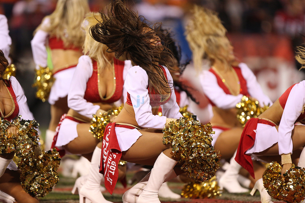 Cheerleaders perform during the Chicago Bears against the San Francisco 49ers NFL game on Monday Nov. 19, 2012 in San Francisco, CA.  (photo by Jed Jacobsohn)