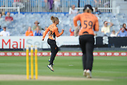 Danni Wyatt of Southern Vipers celebrates the wicket of Sophia Dunkley during the Women's Cricket Super League match between Southern Vipers and Surrey Stars at the 1st Central County Ground, Hove, United Kingdom on 14 August 2018.