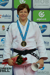 Gold medalist Tina Trstenjak of Slovenia attends the award ceremony for women's -63 kg category at Grand Prix Budapest 2015 in Budapest, Hungary on June 13, 2015. EXPA Pictures © 2015, PhotoCredit: EXPA/ Photoshot/ Attila Volgyi<br /> <br /> *****ATTENTION - for AUT, SLO, CRO, SRB, BIH, MAZ only*****