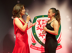 CARDIFF, WALES - Monday, October 5, 2015: Wales' Natasha Harding is interviewed by Frances Donovan after winning the Fans Favourite Award during the FAW Awards Dinner at Cardiff City Hall. (Pic by Ian Cook/Propaganda)