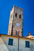 Historic clock tower at the church of San Giovanni Battista, Monterosso al Mare, Cinque Terre, Liguria, Italy